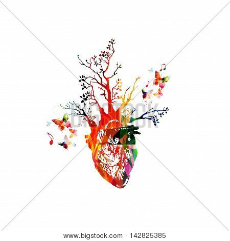Vector illustration for healthy lifestyle concept combining colorful human heart with growing trees, collected from various elements of flower ornament and decorated with butterflies