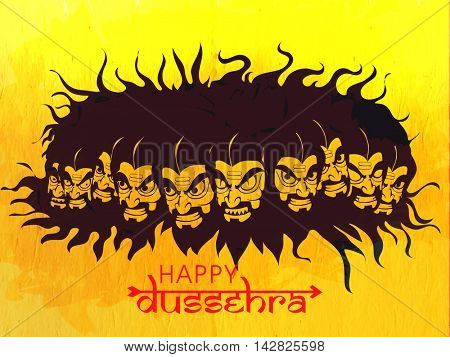 Creative illustration of Angry Ravana with Ten Heads on yellow background for Indian Festival, Happy Dussehra celebration.
