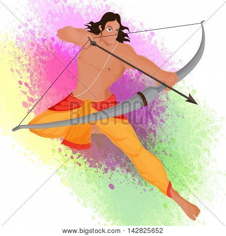 Creative illustration of Lord Rama taking aim with bow and arrow on colour splash background for Indian Festival, Happy Dussehra celebration.
