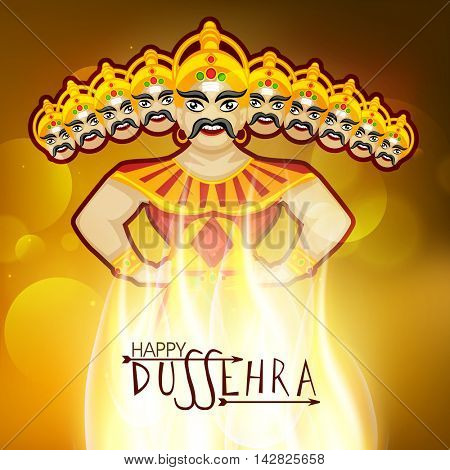 Creative illustration of Burning Ravana with Ten Heads for Indian Festival, Happy Dussehra celebration.