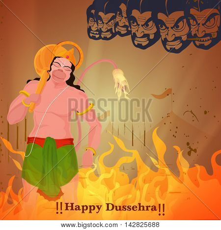 Creative vector illustration of lanka Dahan, Lord Hanuman burning Lanka, Happy Dussehra Festival background.