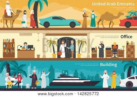 United Arab Emirates Building flat office interior outdoor concept web. Career Chart Fun