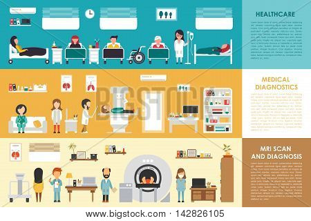 Healthcare Medical Diagnostics MRI Scan hospital interior concept web vector illustration. Doctor, Nurse, Patient, Healthcare. Medicine service presentation