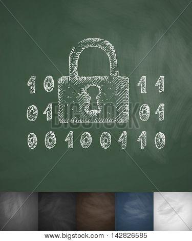 digital protection icon. Hand drawn vector illustration. Chalkboard Design
