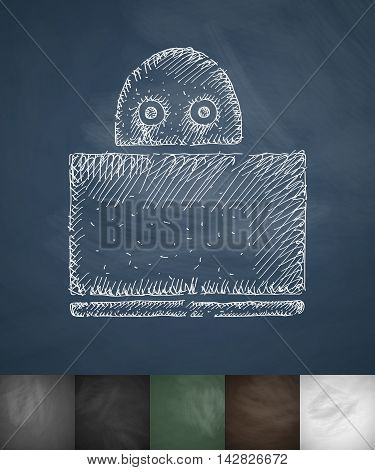 hacker icon. Hand drawn vector illustration. Chalkboard Design