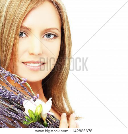 Woman with beautiful blond hair makeup and toothy smile - beauty salon background