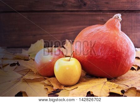 Autumn Composition With Pumpkin, Yellow Maple Leaves And Apple On Rustic Wooden Table. Thanksgiving