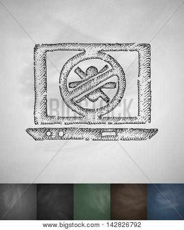 antivirus icon. Hand drawn vector illustration. Chalkboard Design