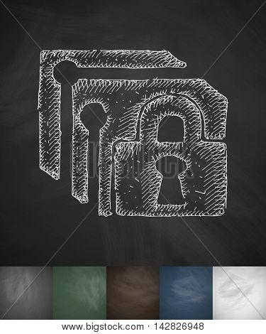lock icon. Hand drawn vector illustration. Chalkboard Design