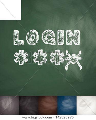 LOGIN icon. Hand drawn vector illustration. Chalkboard Design