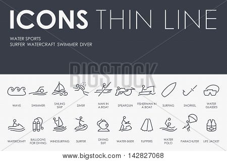 Thin Stroke Line Icons of Water Sports on White Background