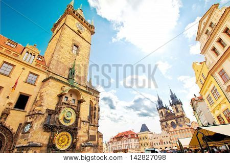 Monuments of Prague. Old Town Hall with Orloj Astronomical Clock and Tyn Church.