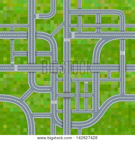A lot of different road junctions on grass background seamless pattern