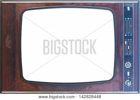 Antique Retro Wooden Tv-set Frame Isolated On White Background
