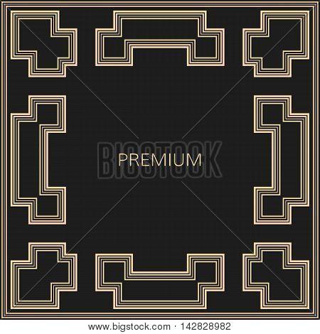 Vector geometric frame in Art Deco style. Square vector abstract element for design. Art Deco border. Light golden vector frame. Premium vector frame in luxury style.