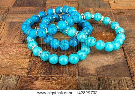 Shiny beads jewelery. Macro shot. Stock image.