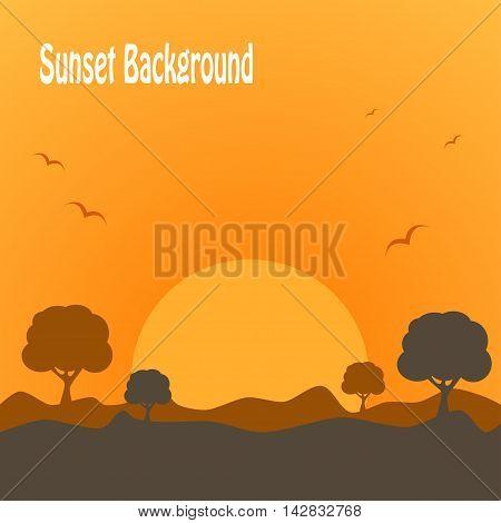 Desert trees plants wild nature landscape illustration background vector