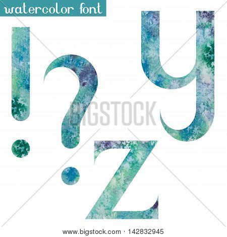 Colorful green-blue watercolor paint alphabet letters Y, Z and punctuation marks - vector Illustration