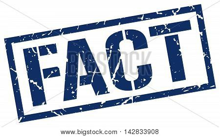 fact stamp. blue grunge square isolated sign