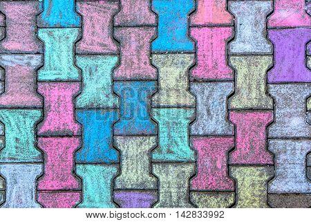 Colorful Concrete Cobble Gray H Shaped Pavement Slabs Or Stones.