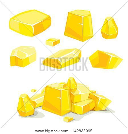 vector Set of different golden boulders. Template for 2D game UI. Illustrations isolate on white background