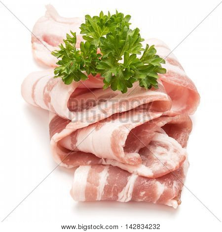 sliced bacon and parsley leaves isolated on white background cutout