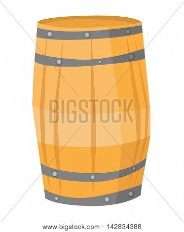 Big round wooden barrel vector flat design illustration isolated on white background.