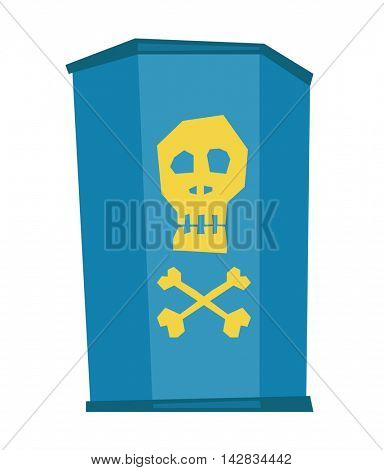 Barrel with skull and bones vector flat design illustration isolated on white background.