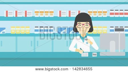 An asian young female pharmacist writing on clipboard and holding prescription in hand. Pharmacist in medical gown standing at pharmacy counter. Vector flat design illustration. Horizontal layout.