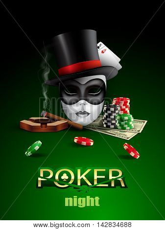 Poker casino poster with mask, chips, cards and cigar.