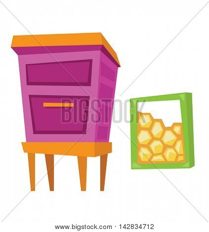 Beehive and honeycomb vector flat design illustration isolated on white background.