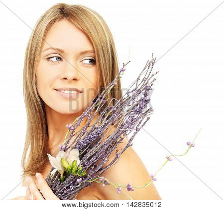 Beautiful woman with flowers isolated on white background