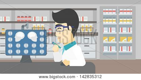 An asian doctor looking at magnetic resonance images of the brain on a computer screen. Doctor analyzing MRI scan at the medical office. Vector flat design illustration. Horizontal layout.