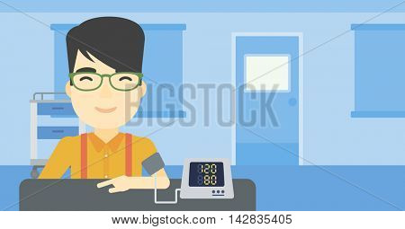 Asian man checking blood pressure with digital blood pressure meter. Man taking care of his health and measuring blood pressure in hospital room. Vector flat design illustration. Horizontal layout.