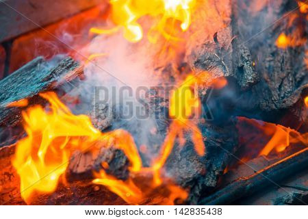 Beautiful Burning Fire Flame Background With Smoke