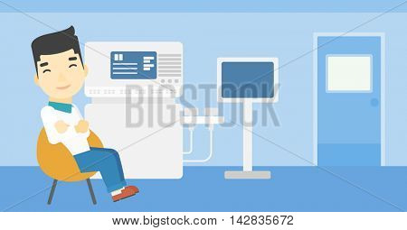 An asian male ultrasound doctor sitting with arms crossed. Male doctor sitting near modern ultrasound equipment at medical office. Vector flat design illustration. Horizontal layout.