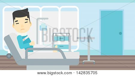 An asian man suffering from neck pain. Man with injured neck lying in bed in hospital ward. Man with neck brace. Vector flat design illustration. Horizontal layout.