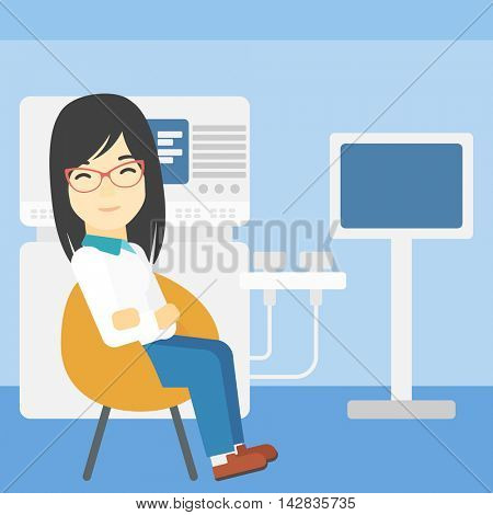 An asian female ultrasound doctor sitting with arms crossed. Female doctor sitting near modern ultrasound equipment at medical office. Vector flat design illustration. Square layout.