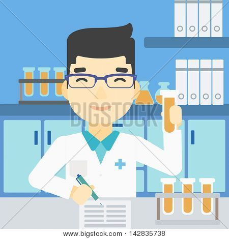 An asian laboratory assistant taking some notes. Laboratory assistant working with a test tube at the lab. Vector flat design illustration. Square layout.