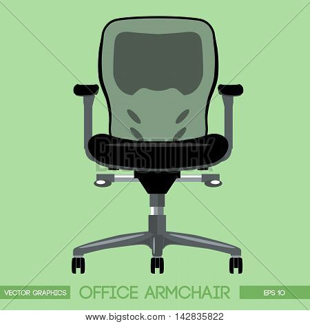 Black modern office armchair over green background. Digital vector image