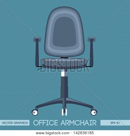 Silver modern office armchair over blue background. Digital vector image