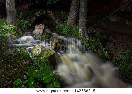 waterfall in Meadow Park in Petrodvorets, St. Petersburg, Russia