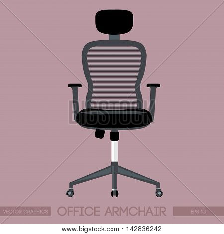 Black modern office armchair over pink background. Digital vector image