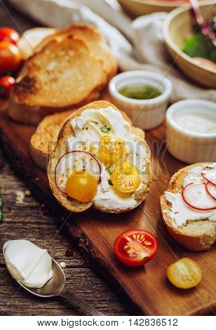 Toasted baguette slices with soft cheese, tomatoes, radishes and herbs. Shallow depth of field