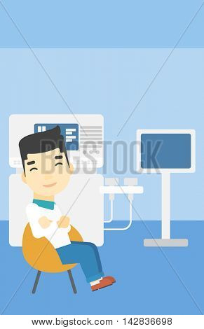 An asian male ultrasound doctor sitting with arms crossed. Male doctor sitting near modern ultrasound equipment at medical office. Vector flat design illustration. Vertical layout.