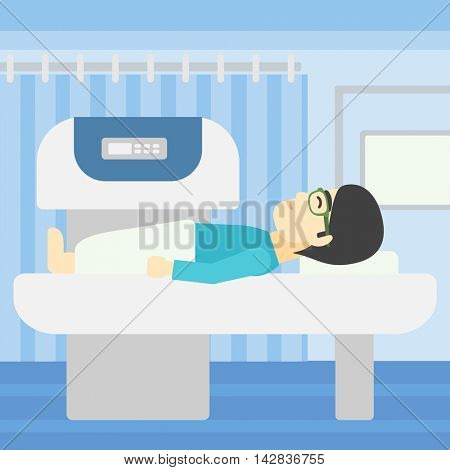 An asian young man undergoes a magnetic resonance imaging scan test at hospital room. Magnetic resonance imaging machine scanning patient. Vector flat design illustration. Square layout.