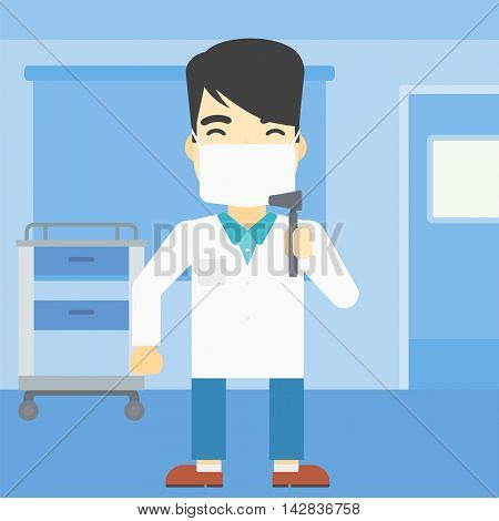 An asian male ear nose throat doctor standing in the medical office. Doctor with tools used for examination of ear, nose, throat. Vector flat design illustration. Square layout.