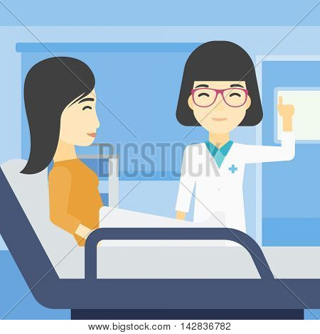 An asian female doctor visiting male patient at hospital ward. Doctor pointing finger up during consultation with patient in hospital room. Vector flat design illustration. Square layout.