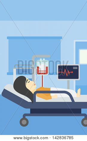 An asian young woman lying in bed at hospital ward. Patient with heart rate monitor and equipment for blood transfusion in medical room. Vector flat design illustration. Vertical layout.