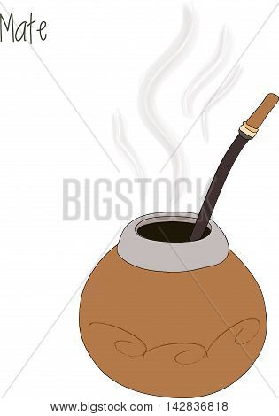 Mate tea illustration and calabash, vector illustration